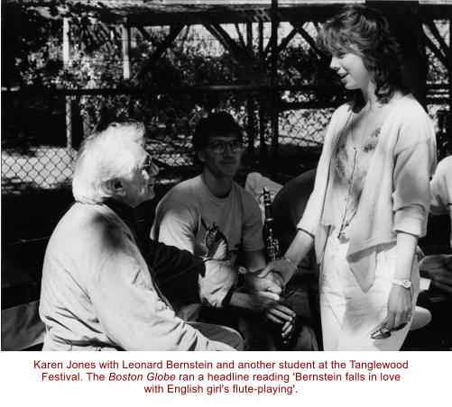 Karen Jones with Leonard Bernstein and another student at the Tanglewood Festival. The Boston Globe ran a headline reading 'Bernstein falls in love with English girl's flute-playing'.
