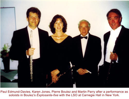 Paul Edmund-Davies, Karen Jones, Pierre Boulez and Martin Parry after a performance as soloists in Boulez's Éxplosante-fixe with the LSO at Carnegie Hall in New York.