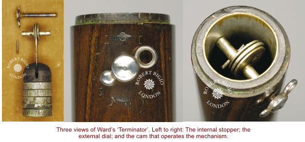 Three views of Ward's 'Terminator'. Left to right: The internal stopper; the external dial; and the cam that operates the mechanism.